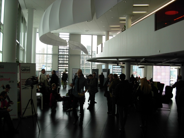 Lobby area of the University of Salford's building at Media City UK