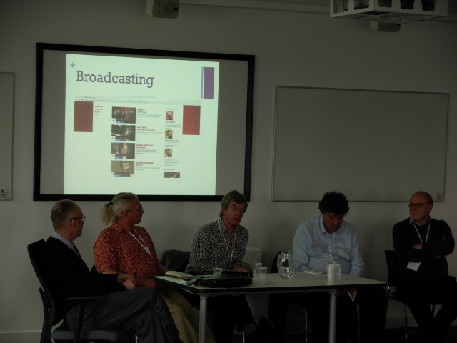The Jazz and Media panel.  L to R: mediator Tim Wall, Ian Patterson of All About Jazz, Alyn Shipton of the BBC, Sebastian Scotney of LondonJazz, Alexander Kan of Europe Hub and BBC World Service